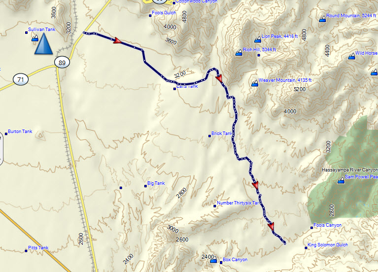Map Of Arizona Ghost Towns.Stanton Ghost Town Trail