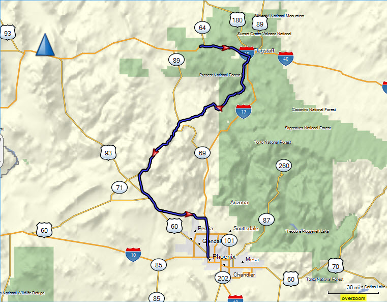 map of sedona az area with Williams Flagstaff Phoenix on Page likewise Arizona And The Grand Canyon besides Bike Skills Park further Directions besides Dead Horse Ranch State Park Map.